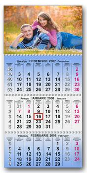 Календарь настенный тройной синий