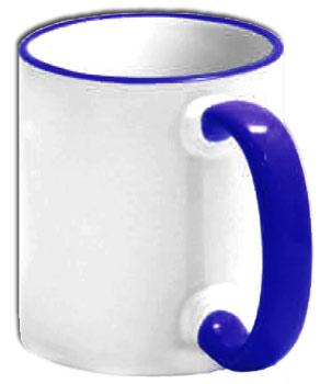 Чашка с синей ручкой и ободком