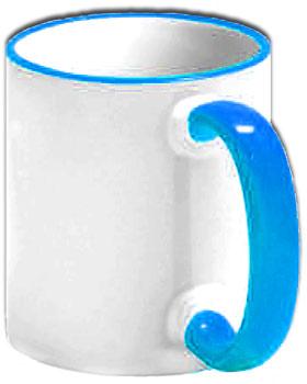Чашка с голубой ручкой и ободком