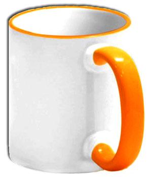 Чашка с оранжевой ручкой и ободком